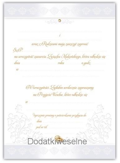 Zaproszenia Na ślub Wzór 9600