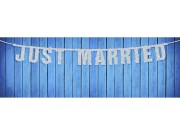 Baner Just Married srebrny 18 x 170cm-GRL15-018